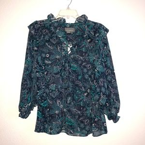 NWT ANTHROPOLOGIE Blue floral Tie Front Blouse L